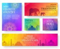 Ensemble de concept indien d'illustration d'ornement de pays Art traditionnel, affiche, livre, affiche, résumé, motifs de taboure Image stock