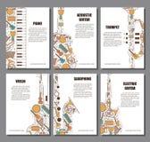 Ensemble de concept musical d'illustration Élément de brochure de livre d'affiche de musique d'art Carte de voeux décorative de v Photo libre de droits