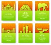 Ensemble de concept de visite de voyage d'ornement de pays d'Inde Cultivez traditionnel, magazine, livre, affiche, résumé, élémen Illustration de Vecteur