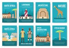 Ensemble de concept de voyage de voyage d'ornement de pays de l'Afrique du Sud Art traditionnel, magazine, livre, affiche, résumé Illustration Stock