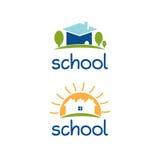 Ensemble de conception abstraite de logo de calibre pour le thème d'école Photo stock