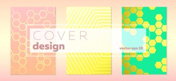 Ensemble de conception de bacjgrounds d'hexagone de trois couvertures illustration de vecteur