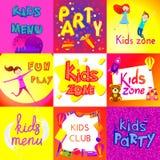 Ensemble de conception de bannière de zone d'enfants Type de dessin animé Image libre de droits