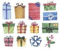 Ensemble de conception de cadeaux d'aquarelle illustration libre de droits