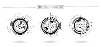 Ensemble de conception circulaire d'élément de hud de communication de technologie numérique Image stock