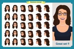 Ensemble de conception d'émotions du ` s de femme Expression du visage Affaires de fille Avant, côté, caractère animé de vue de p illustration libre de droits
