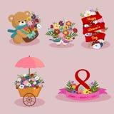 Ensemble de conception d'image d'éléments de vacances de jour de ressort et de femmes Photo stock