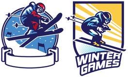 Ensemble de conception d'insigne de jeux de sport de ski Photographie stock libre de droits