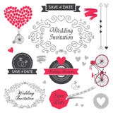 Ensemble de conception d'invitation de mariage de vintage de vecteur Image stock