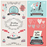 Ensemble de conception d'invitation de mariage de vintage de vecteur illustration stock