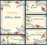 Ensemble de conception d'invitation de mariage Faire gagner la datte Carte de RSVP illustration stock