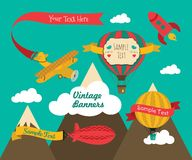 Ensemble de conception de bannière de véhicules aériens de vintage illustration stock