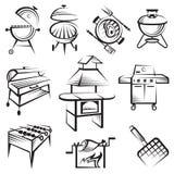 Ensemble de conception de barbecue illustration libre de droits