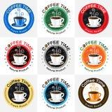 Ensemble de conception de logo de label d'insigne de café Image libre de droits