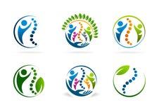 Ensemble de conception de logo de vecteur de chiropractie Image stock