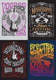 Ensemble de conception de T-shirt d'affiche de roche de vintage illustration stock