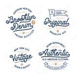 Ensemble de conception de T-shirt de typographie de denim Illustration de vintage de vecteur illustration stock