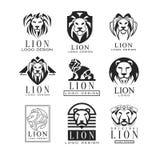 Ensemble de conception de logo de lion, élément de conception pour l'affiche, bannière, embem, insigne, tatouage, illustrations d illustration stock