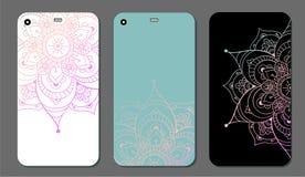 Ensemble de conception de mandala de cas de téléphone Éléments décoratifs de cru Fond tiré par la main L'Islam, l'arabe, Indien,  illustration stock