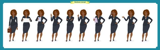 Ensemble de conception de personnages noire de femme d'affaires Avant, côté, caractère animé de vue arrière Caractère de fille d' Image stock