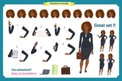 Ensemble de conception de personnages noire de femme d'affaires Avant, côté, caractère animé de vue arrière Caractère de fille d' Photo stock
