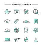 Ensemble de conception plate, de ligne mince seo et d'icônes d'optimisation de Web illustration de vecteur