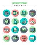 Ensemble de conception plate, de longue ombre, de ligne mince argent et d'icône de finances illustration libre de droits
