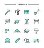 Ensemble de conception plate, ligne mince icônes de construction illustration stock