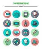 Ensemble de conception plate, longue ombre, icônes d'outils de ligne concepteur mince illustration stock