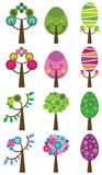 Ensemble d'arbres colorés, illustration de vecteur. Photo stock