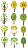 Ensemble d'arbres colorés, illustration de vecteur. Image libre de droits