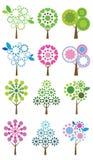Ensemble d'arbres colorés, illustration de vecteur. Images libres de droits