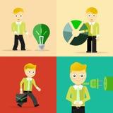 Ensemble de concepts de caractère de pose d'homme d'affaires Image libre de droits