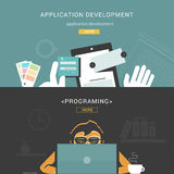 Ensemble de concepts de construction plats pour le processus de développement et la programmation d'application Web illustration de vecteur