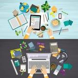 Ensemble de concepts de lieu de travail d'éducation et d'affaires illustration de vecteur