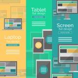 Ensemble de concepts plats d'écran de conception Photos stock