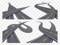 Ensemble de 9 concepts de route goudronnée dans la perspective Icônes de route Photo libre de droits