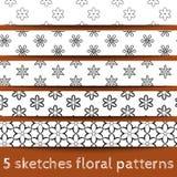 Ensemble de configurations florales de croquis Photographie stock