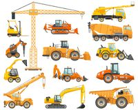 Ensemble de construction lourde et de machines d'abattage détaillées dans le style plat sur le fond blanc Machines de bâtiment illustration stock