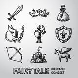 Ensemble de conte de fées tiré par la main, icônes de jeu Vecteur Image libre de droits