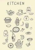 Ensemble de contour d'ustensile de cuisine de griffonnage dans le noir d'isolement au-dessus du fond blanc illustration libre de droits