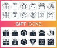 Ensemble de contour et d'icônes plates de cadeau Photo stock