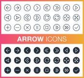 Ensemble de contour et d'icônes plates de flèche Photo stock