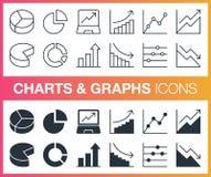 Ensemble de contour et de diagrammes et d'icônes plats de graphiques Photo libre de droits