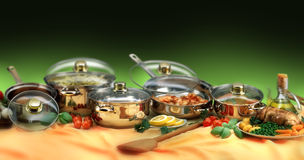 ensemble de cookware Photographie stock