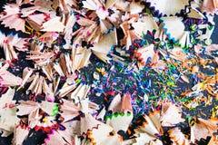 Ensemble de copeaux des crayons colorés Images libres de droits