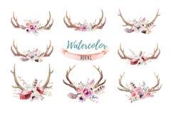 Ensemble de copie florale d'andouiller de boho d'aquarelle bohémien occidental De illustration de vecteur
