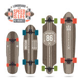 Ensemble de copies sur le longboard Images libres de droits