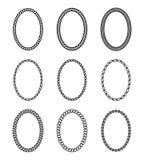 Ensemble de corde de cadres ovales Collection de bor épais et mince Image stock