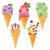Ensemble de cornets de crème glacée avec le lustre, chocolat, fraise, bluebe illustration de vecteur